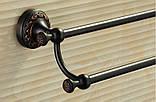 Вешалка для полотенец на кухню или в ванную комнату настенная двухуровневая черная, фото 5
