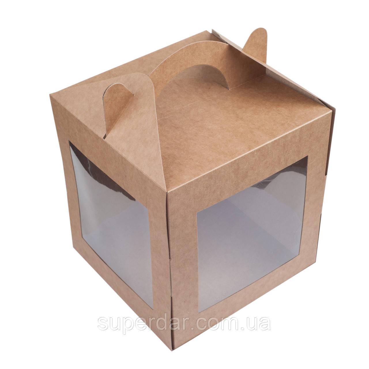 Коробка для кулича, пряничного домика, 200х200х220 мм., крафт
