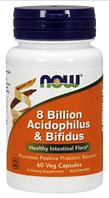 Комплекс пробиотиков, Now Foods, 8 Billion Acidophilus and Bifidus, 60 caps