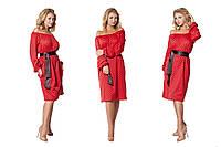 Стильное красное платье в горох с атласным поясом. Арт-9534/78