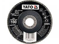 YATO Круг з наждачних пелюстків випуклий;ALUMINIUM OXIDE К 120, Ø= 125/22,4 мм