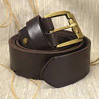 Мужской кожаный ремень R-09 темно-коричневый