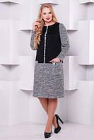 Теплое платье Кэти черное (52-58)