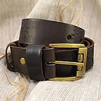 Мужской кожаный ремень R1-09 (темно-коричневый)