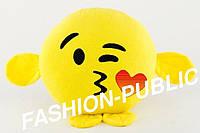 Подушка смайлик воздушный поцелуй с лапками 35 см