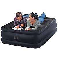 Надувная велюр кровать матрас 64440 Intex (203x152x56 см) с нассосом 220 В