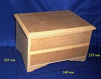 Комод-сундук на 2 деления с перегородками 34х26.5х21.5 см МДФ заготовка для декора