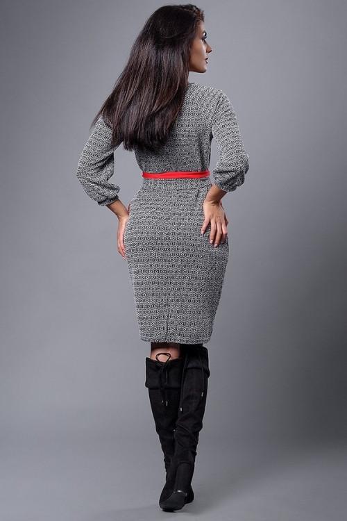 e588f5025c6 Платье батал из итальянского плотного трикотажа серое ромб  продажа ...