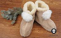 Чуни домашние, бежевые чуни из овечьей шерсти, комнатные тапочки, фото 1