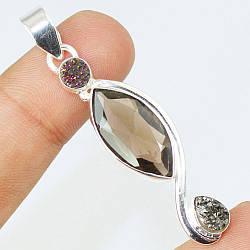 Раухтопаз дымчатый кварц и друза кварца, серебро 925, кулон, 112ПР
