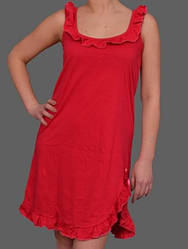 Ночная сорочка красная без рукава женская короткая (ночнушка) трикотажная хлопковая Украина
