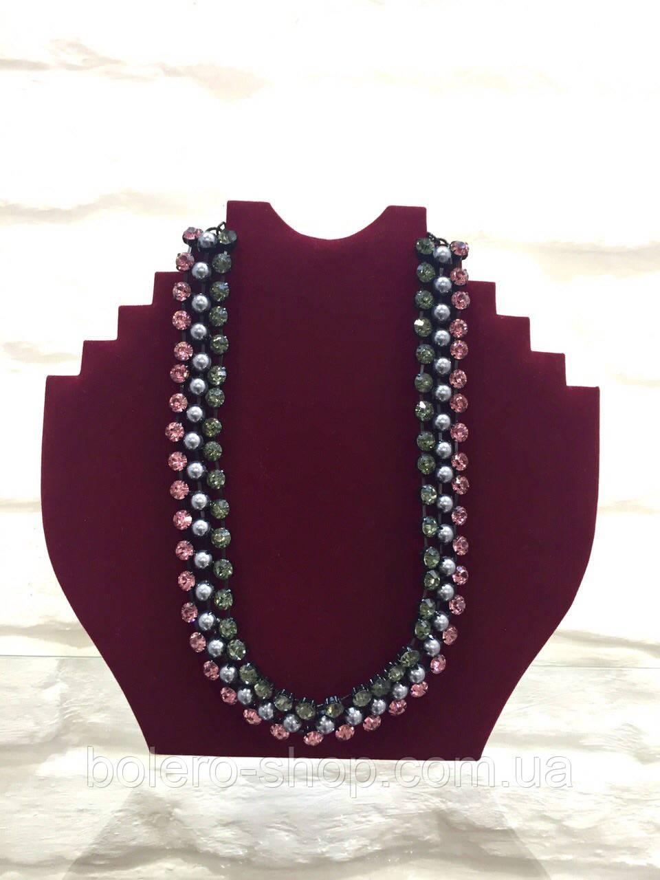 Брендовая женская бижутерия колье ожерелье с камнями