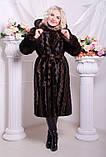 Женская длинная шуба из искусственного меха, коричневая волна, фото 2