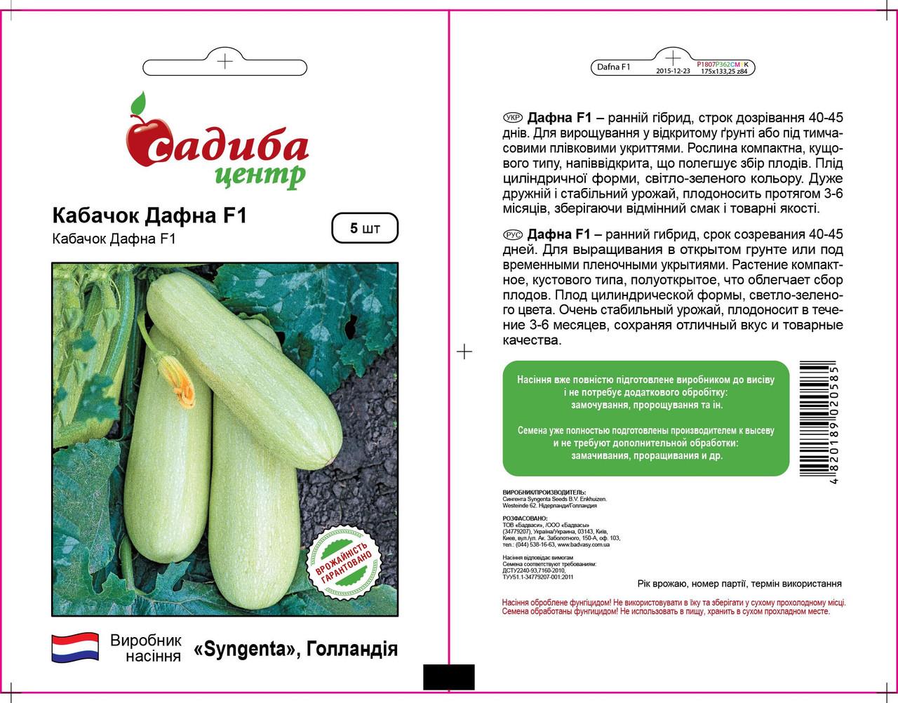 Семена кабачка Дафна F1 (Syngenta, САДЫБА ЦЕНТР), 5 семян — ранний гибрид (40-42 дня)
