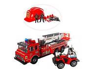 Детский набор пожарного (пожарника): каска, 2 машины, фигурки