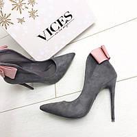 Очень нежные туфельки  цвет:Черный , бантик нежно розовый