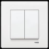 Выключатель двойной белый Viko (Вико) Karre (90960002)