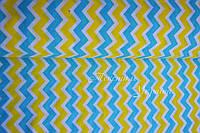 """Польская хлопковая ткань """"зигзаг сине-жёлтый"""""""
