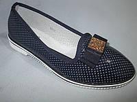 Туфли оптом Башили для девочек, размер 31-37, с бантом и золотой пряжкой, синие