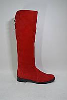 Женские сапоги из натурально замша красного цвета, фото 1