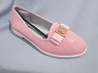 Подростковые туфли оптом, для девочек, размер 31-37, с бантом и золотой пряжкой, розовые