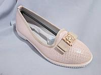Подростковые туфли оптом, для девочек, размер 31-37, с бантом и золотой пряжкой, бежевые