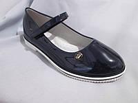 Подростковые туфли оптом для девочек, размер 31-37, с перепонкой, лаковые, цвет синий