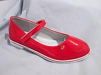 Подростковые туфли оптом для девочек, размер 31-37, с перепонкой, лаковые, цвет красный