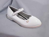 Подростковые туфли оптом для девочек, размер 31-37, с перепонкой, лаковые, цвет белый