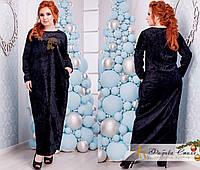 Платье большого размера с аппликацией из камней сваровски