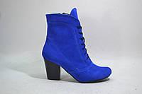Женские ботинки на каблуке, натуральный замш, фото 1