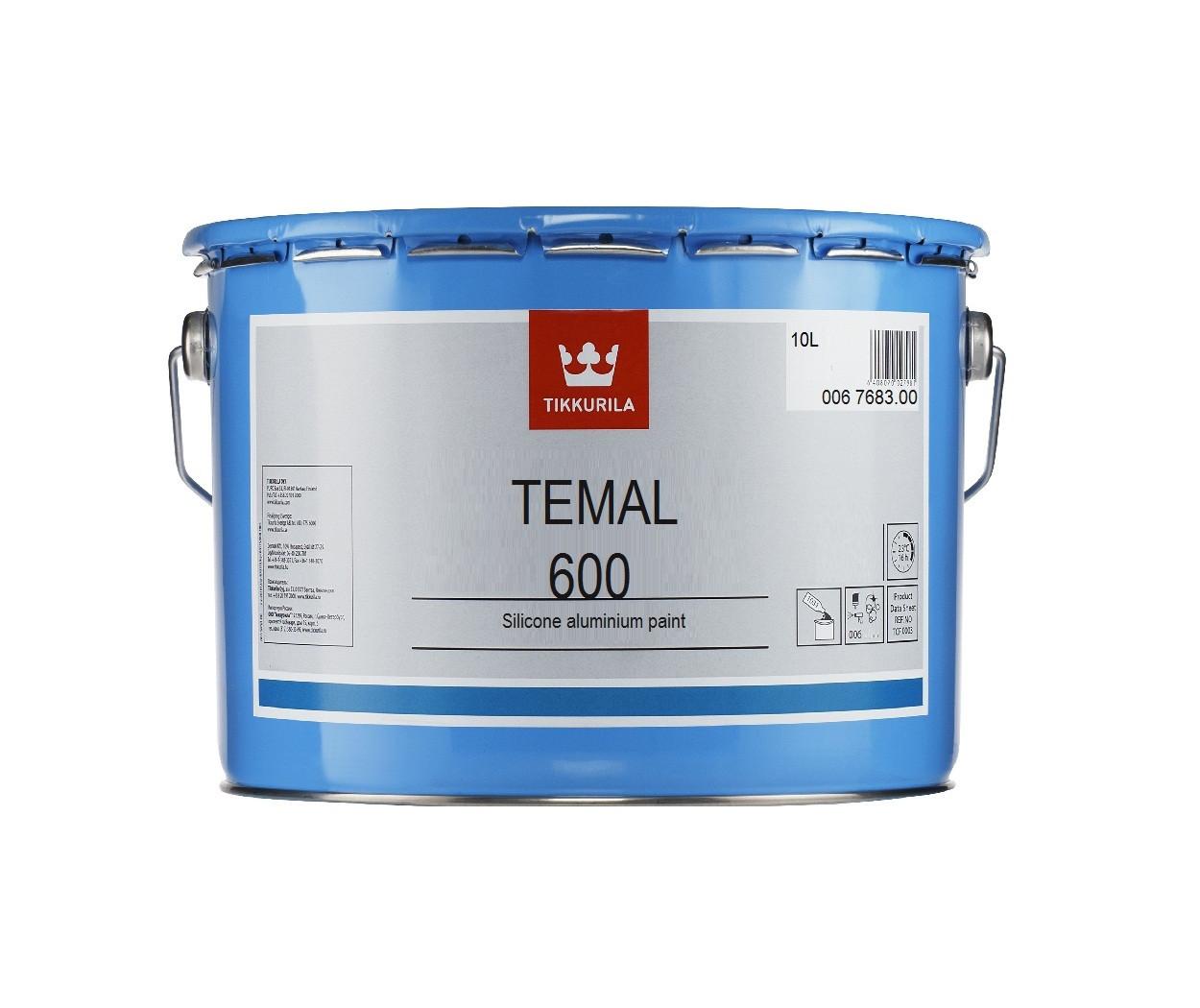 Эмаль силиконовая TIKKURILA TEMAL 600 термостойкая алюминиевая, 10л