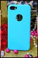 """Силіконовий чохол з прорізом для логотипу Apple iPhone 7 кольору """"тіффані"""""""