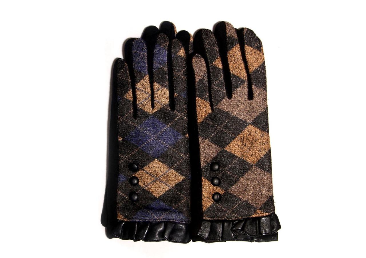 Интересные женские перчатки в английском стиле, с манжетом из кожи и кнопками в качестве декора