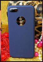 Силиконовый чехол с прорезью для логотипа Apple iPhone 7 синего цвета