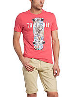 Мужская футболка LC Waikiki красного цвета с надписью To be free, фото 1
