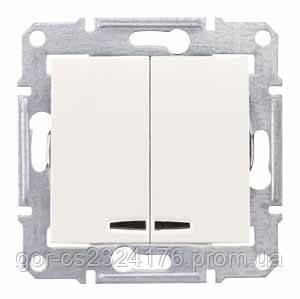Двухклавишный выключатель с подсветкой Schneider electric SEDNA, С.-К.