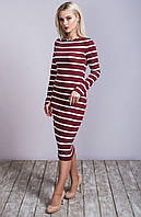 Платье трикотажное 5881 полоса, платье в полоску