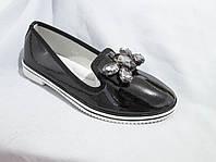 Туфли оптом для девочек, размер 31-37, лаковые с крупной пряжкой-бантом из стразов, черные