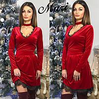 Платье с кружевом из бархата с пышной юбкой и чокером 5 цветов 2SMmil1009