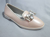 Туфли оптом для девочек, размер 31-37, лаковые с крупной пряжкой-бантом из стразов, бежевые