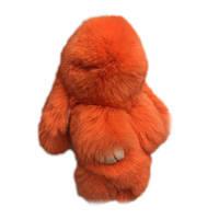 Заяц из натурального меха кролика на брелоке оранжевый