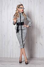 Нарядный теплый костюм светло-серого цвета