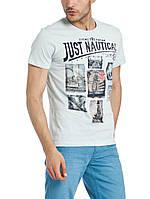Голубая мужская футболка LC Waikiki / ЛС Вайкики с надписью Just nautical