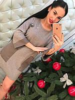 Женское модное твидовое прямое платье с карманами (3 цвета), фото 1