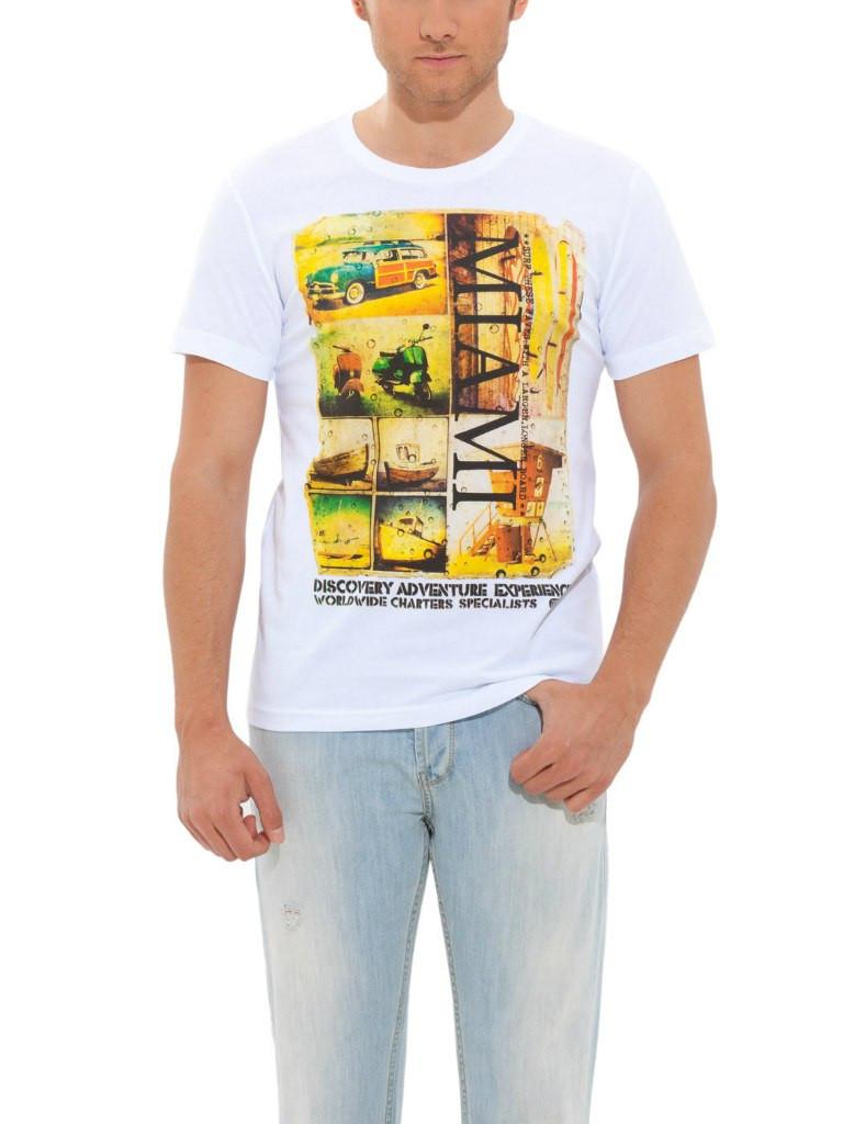 Мужская футболка LC Waikiki белого цвета с надписью Miami
