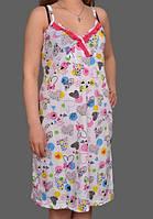 Ночная сорочка без рукава женская (ночнушка) короткая трикотажная хлопковая Украина