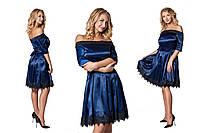Стильное  синее  платье с королевского атласа, с кружевом. Арт-9541/78