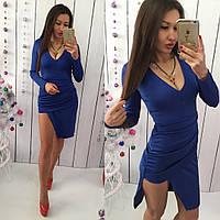 Красивое синее  короткое платье. Арт-9542/78