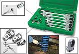Набор ключей комбинированных с трещоткой и шарниром 8-19мм + переходники, фото 2